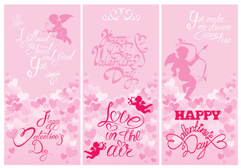 Set of 3 Holiday vertical banners with cute angels on hearts pin