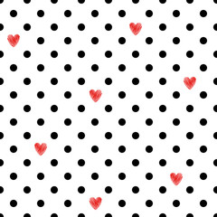Polka dot seamless pattern with red hearts. Valentines Day design. Romantic vector background.