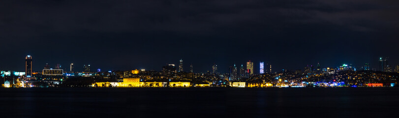 Istanbul Turkey at Night Panoromic