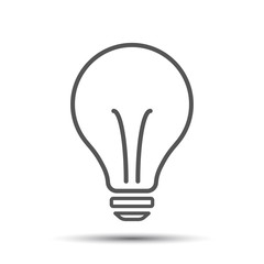 Halogen lightbulb icon. Light bulb sign. Electricity and idea symbol. Thin line icon on white background. Flat vector illustration.