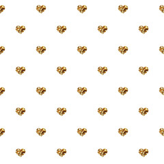 Abstract Valentine's Day hearts. Gold glittering hearts. Seamless background for your design. Vector illustration. Love concept. Cute happy wallpaper. Good idea for your Wedding,