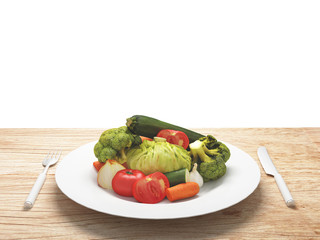 Piatto di verdure sane e biologiche verdi