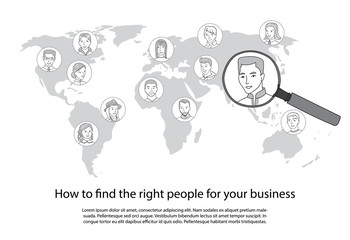 People search all around the world vector concept