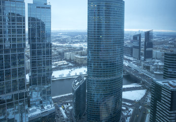 Aerial panorama of Moscow city in winter, Russia