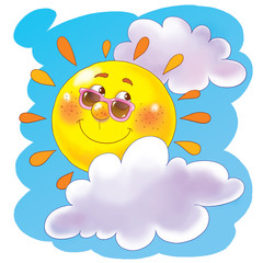 Illustration of cute smiling sun. Coloring page. Funny cartoon character.