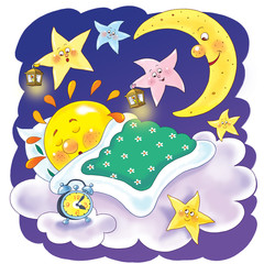 Cute sleeping sun, moon and stars. Coloring page. Funny cartoon characters