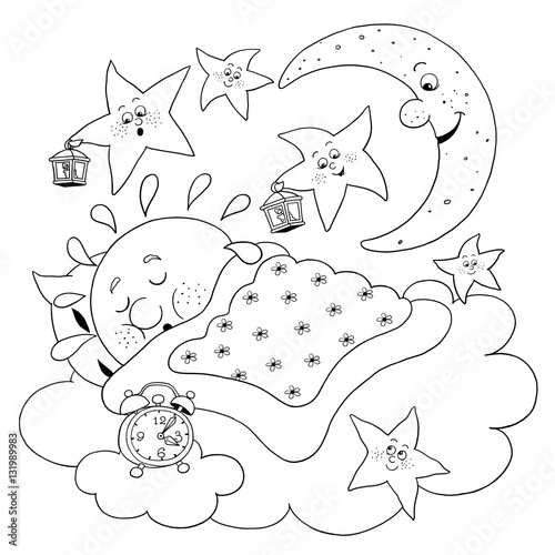 Cute sleeping sun moon and stars coloring page funny for Sun moon and stars coloring page