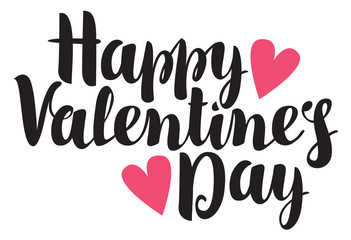 vector inscription happy valentines day with hearts
