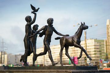 The monument to pioneers. Pionerskaya Metro Station. SAINT - PETERSBURG