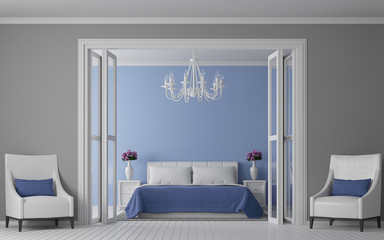 Modern vintage bedroom interior 3d rendering Image. View from front of room.There are white wood floor.Paint wall with blue and grey.There are white furniture, blue fabric and white chandelier.