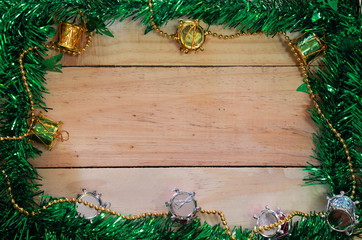 decoration on wooden board background. Merry christmas card. Win