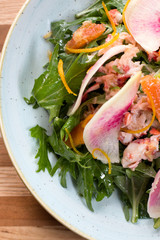 Lobster Salad - Cara cara orange, white balsamic vinaigrette, lobster sauce, tender greens, watermelon radish, candied cara cara orange peel.