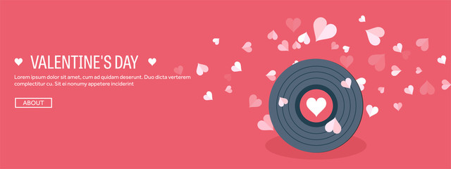 Vector illustration. Flat musical background with vinyl. Love, hearts. Valentines day. Be my valentine. 14 february.