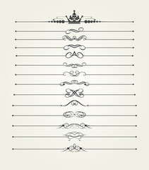 Calligraphic dividers for decorating pages. Vector set