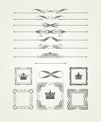 Ornamental page decoration, retro style. Calligraphic design elements