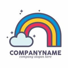 colorful rainbow logo icon vector template