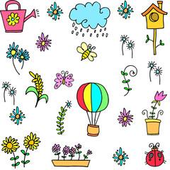 Illustration of spring set doodles