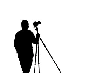 photographer silhouette with accessories and holding hand on tripod  isolated on white background