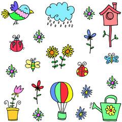 Illustration of colorful spring set