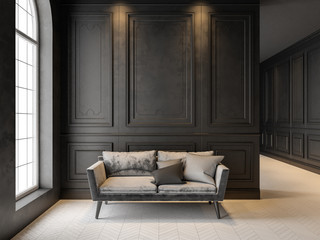 Sofa in classic black interior. 3D render mock up. Wall mural
