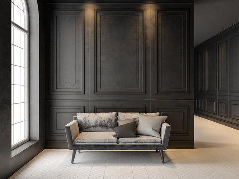 Sofa in classic black interior. 3D render mock up.