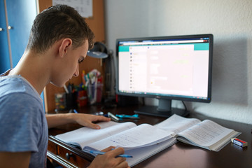 Teenage student doing homework