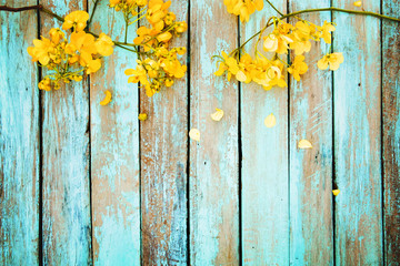 Yellow Flowers On Vintage Wooden Background Border Design Color Tone