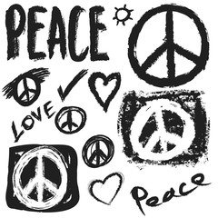 Retro design of Peace, Love and Music, design element