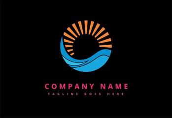 sun beach icon logo