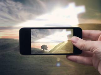 The phenomenon of cross (Smartphone photo)