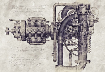 Sketch of an old machine, 3D Illustration