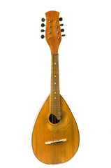 Mandolin on a white background, old string musical instrument.
