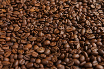 Coffee grains close-up in a rustic style