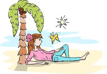 Meisje geniet van haar vakantie aan de zee