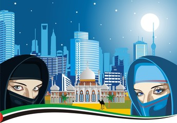 Arab women and the ancient Palace on a background of modern city. Vector illustration