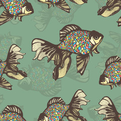 Abstract fish hand drawing seamless pattern, vector background. Decorative  with motley multicolored scales on a green .  handmade element, for wallpaper design, fabric