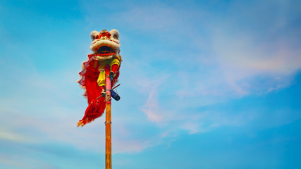 Lion Dance in Chinese New Year Celebration