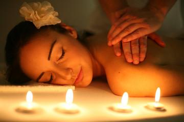 Woman enjoying a massage treatment.