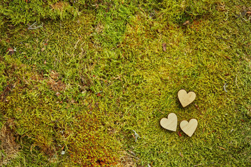 Green background of forest moss with wooden hearts