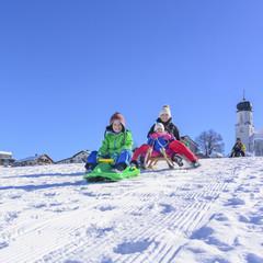 Familie beim Schlittenfahren