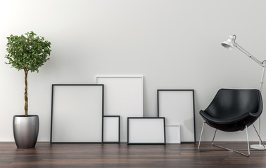 Set of picture frames on the floor - background