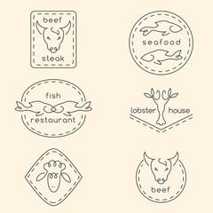 Line art restaurant logo set
