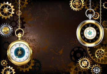 brown background with the clock