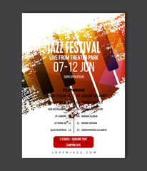 Music poster template. Vector Jazz music flyer background with keyboard illustration. A4 size flyer.