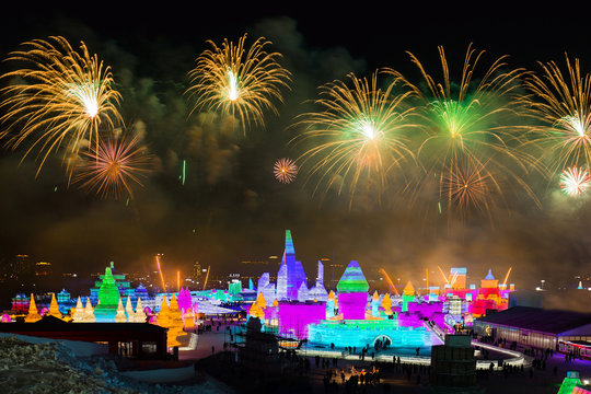 Spectacular Fireworks over Ice and Snow Sculptures in Harbin, China