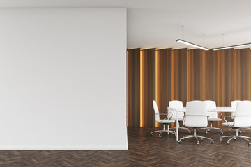 Meeting room with wooden panels