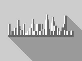 Panorama of city with skyscrapers in a flat style. Vector illustration.