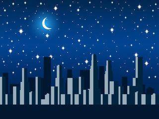 City at night with the moon and stars. Vector illustration.