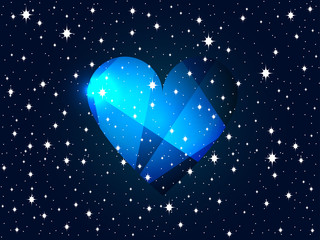 Valentines Day. Background with heart and stars. Vector illustration.