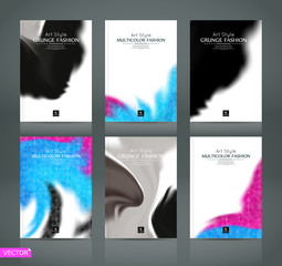 Abstract composition. White a4 brochure cover design. Patch info banner frame. Text font. Title sheet model set. Modern vector front page. Black, pink, blue blot texture. Color figures icon. Ad flyer